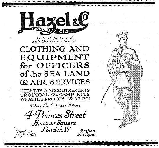 Hazel & Co RNAS & RFC Officers Clothing & Kit.