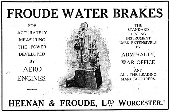 Heenan & Froude Water Brakes For Testing Aero Engines. 1916