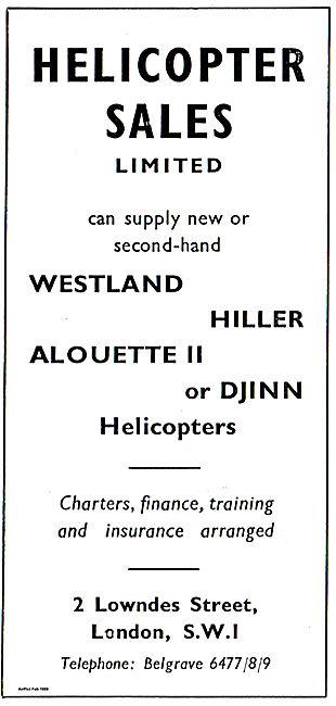 Helicopter Sales: Hiller, Westland  Alouette or Djinn