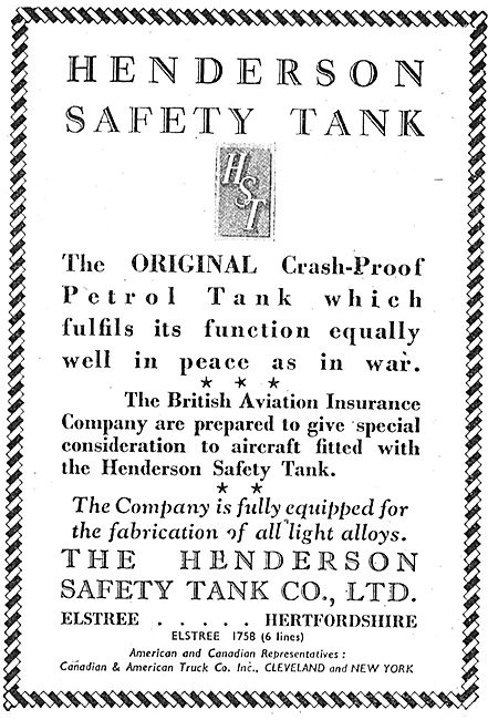 Henderson Safety Tank  Crashproof Tanks For Aircraft