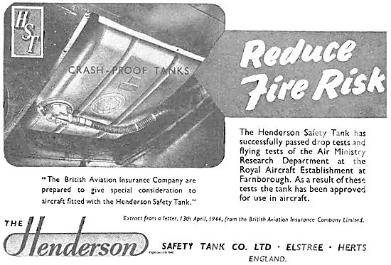 Henderson Safety Aircraft Fuel Tanks Reduce Fire Risk
