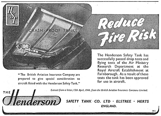 Henderson Safety Tank Co: Crashproof Tanks For Aircraft