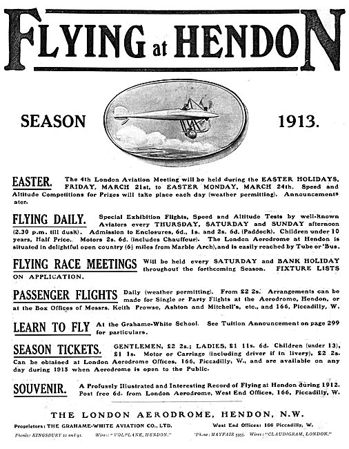 Flying Programme For March 1913  At Hendon - Grahame White