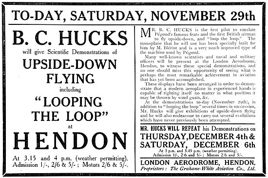 Flying Programme For November 1913  At Hendon - Grahame White