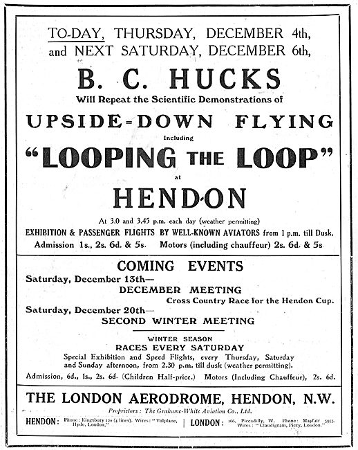 See B.C.Hucks Flying Upside-Down At Hendon