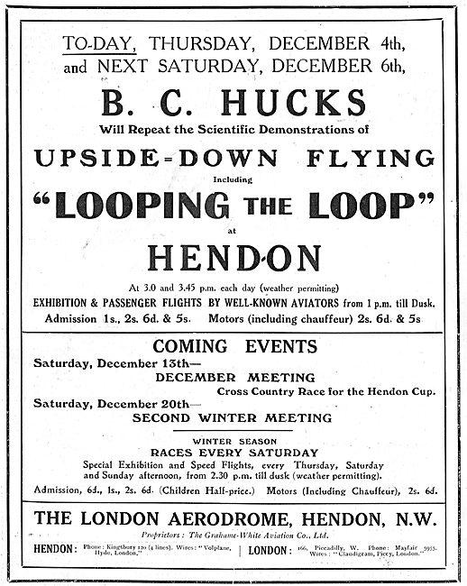 See B.C.Hucks Flying Upside-Down At Hendon