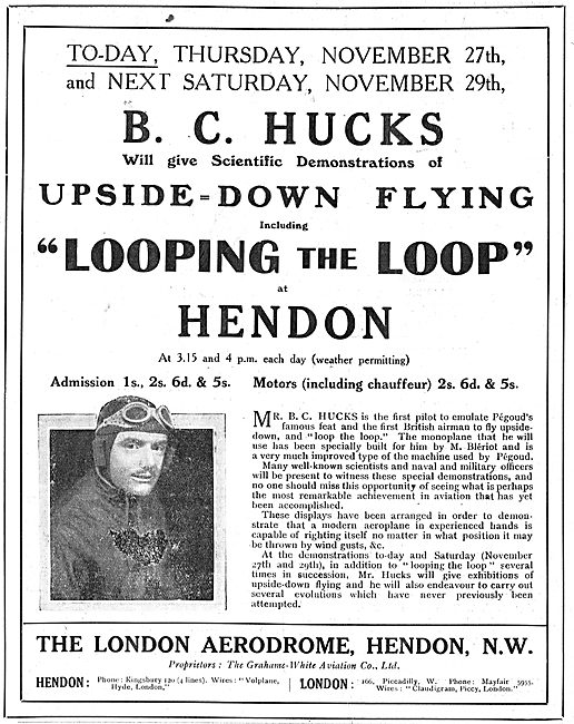 See B.C.Hucks Looping The Loop At Hendon November 1913