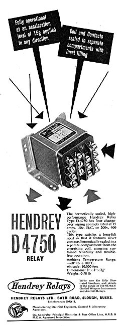 Hendrey Relays For Aircraft: Hendrey D4750 Relay