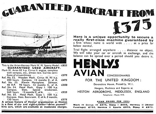 Henly's Aircraft Sales 1930 Heston