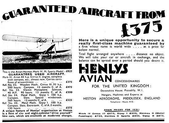 Henly's Aircraft Sales. Heston 1931