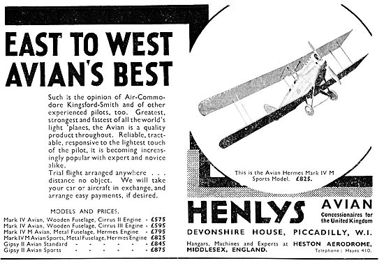 Henly's Aircraft Sales. Heston 1931 Avro Avian Sales