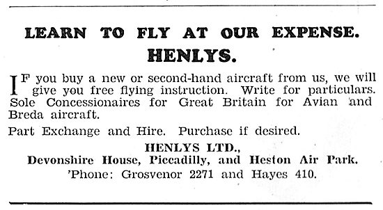 Henly's Aircraft Sales. Heston. Henlys Flying School 1931