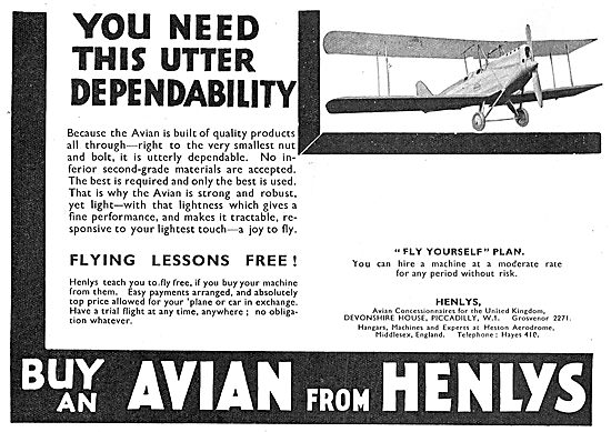 Visit Henlys To Purchase Your Avro Avian - Free Flying Lessons
