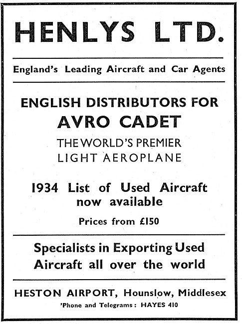 Henlys - Heston & Barton. English Distributors For The Avro Cadet