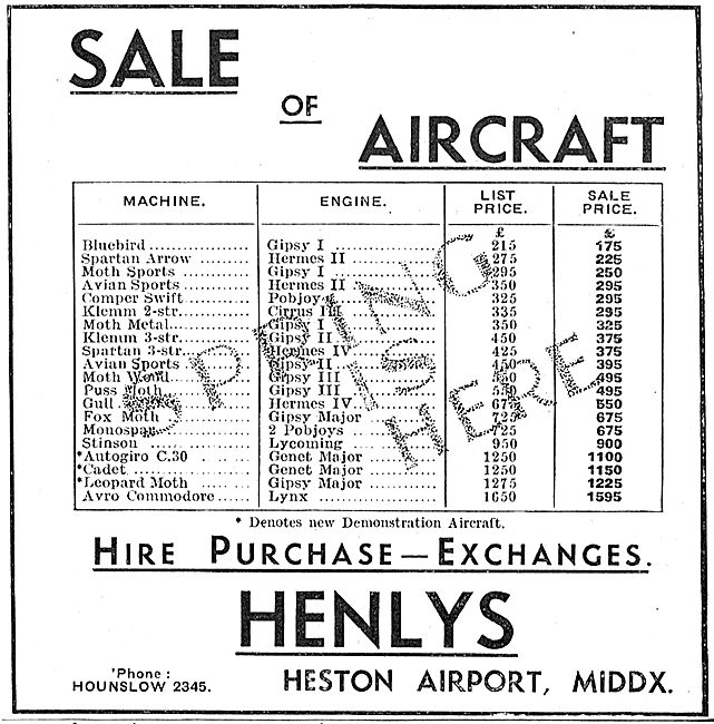 Henlys Spring Sale Of New & Used Aircraft - HP - Exchanges