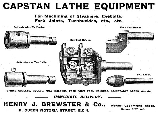 Henry Brewster Capstan Lathes Eqpt For Aeroplane Construction