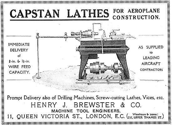 Henry Brewster Capstan Lathes For Aeroplane Construction