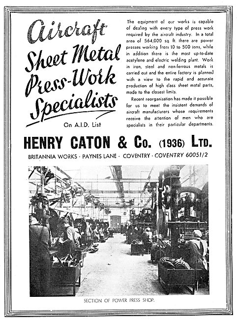 Henry Caton & Co. Paynes Lane Coventry. Aircraft Sheet Metal Work