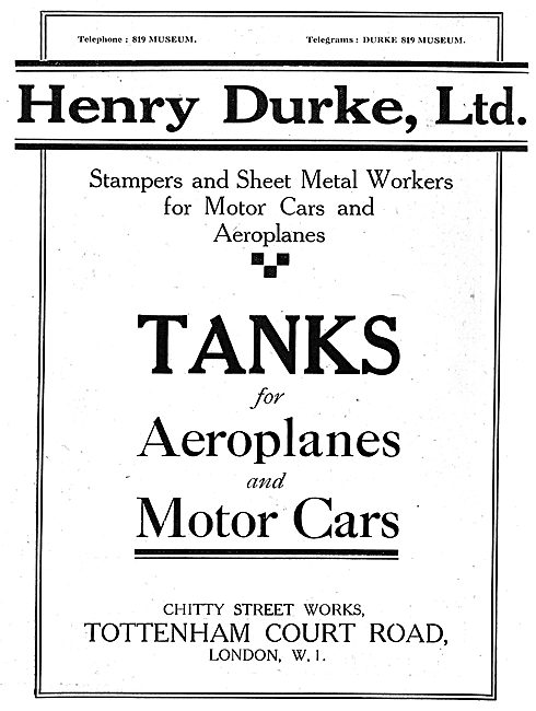 Henry Durke Ltd. Stampings & Sheet Metal Work For Aircraft