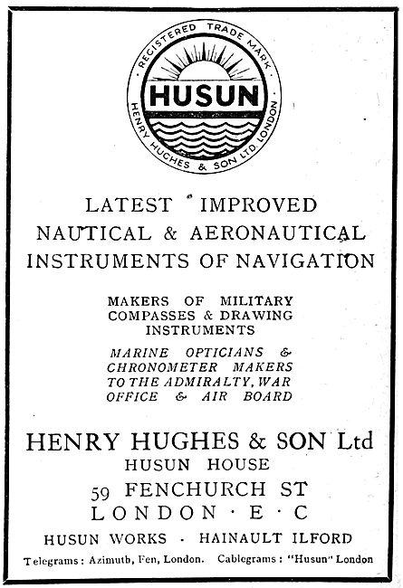 Henry Hughes HUSUN Aircraft Compass 1919