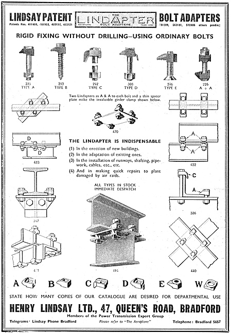 Henry Lindsay Ltd : Lindapter Factory Fittings 1940
