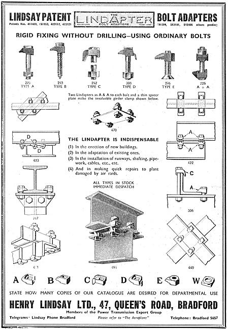 Henry Lindsay Ltd : Lindapter Factory Fittings 1940