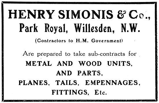 Henry Simonis & Co - Park Royal Willesden. Aeronautical Engineers