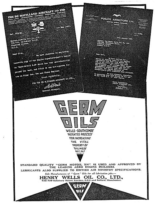 Henry Wells Oil Co - Germ Aviation Oils