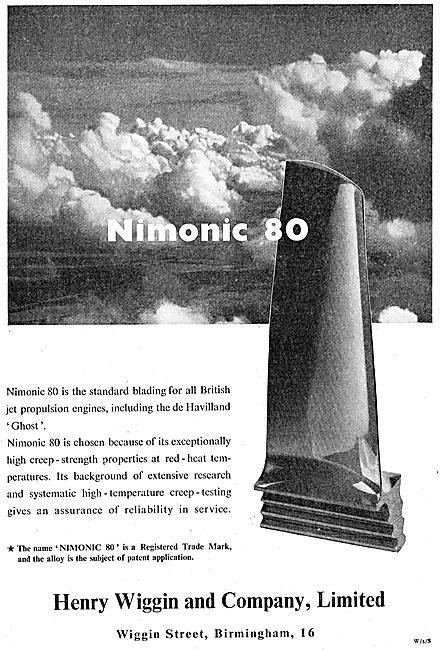 Henry Wiggin Nimonic Alloys - Nimonic 80 1947 Advert