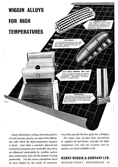 Henry Wiggin High Temperature  Alloys. Inconel Nimonic  Brightray