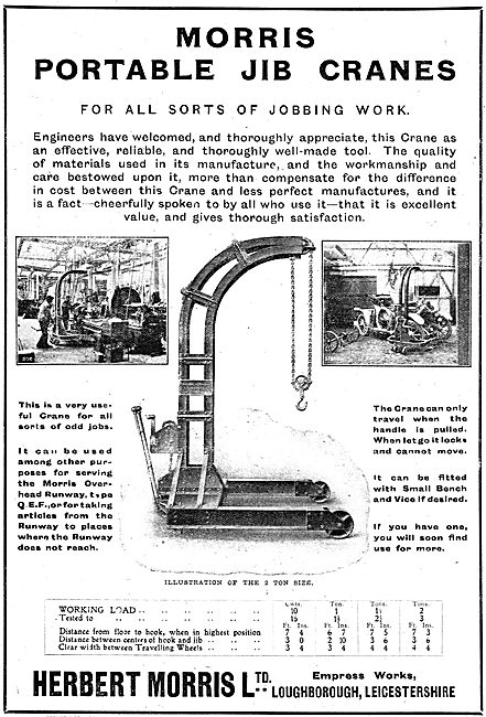 Herbert Morris Portable Jub Cranes For Aircraft Factory Work
