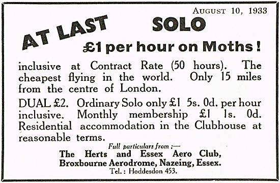 £1 Per Hour On Moths At Herts & Essex Aero Club