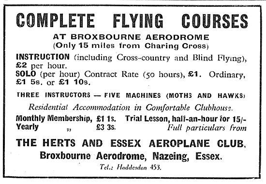 Herts & Essex Aero Club, Broxbourne. Complete Flying Courses
