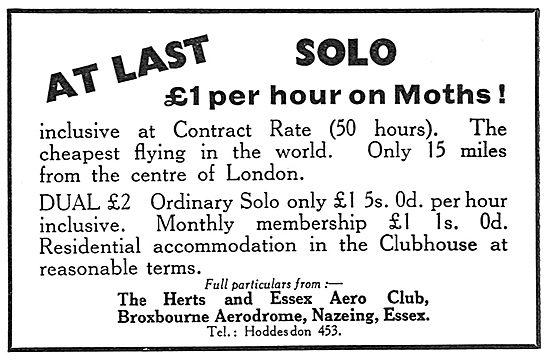 Herts & Essex Aero Club, Broxbourne.. £1 Per Hour Solo On Moths