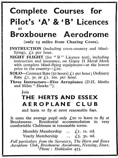 Herts & Essex Aero Club, Broxbourne. A & B Pilots Licences