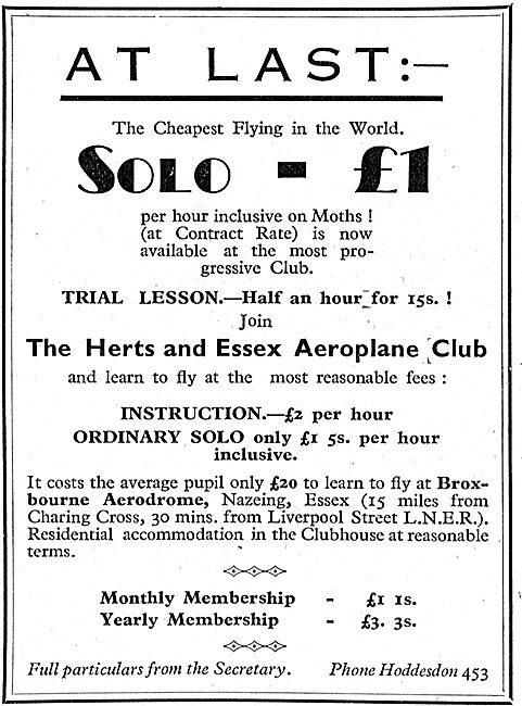 Herts & Essex Aero Club, Broxbourne.: Trial Lesson 15/-