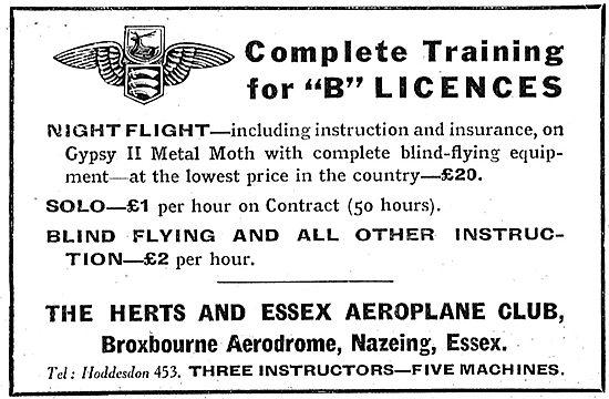 Herts & Essex Aero Club ; B Licence - & Night Flying Instruction