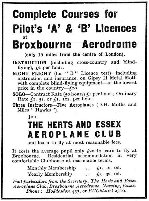 Herts & Essex Aero Club Broxbourne - A & B Licence Training