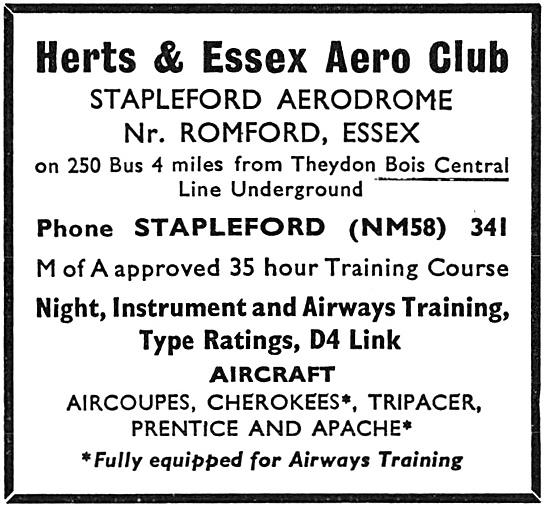 Herts & Essex Aero Club Stapleford Aerodrome 1967