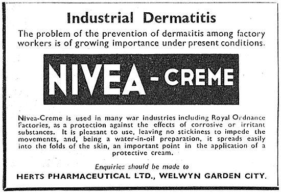 Herts Pharmaceuticals. Nivea Creme For Dermatitis Prevention 1943