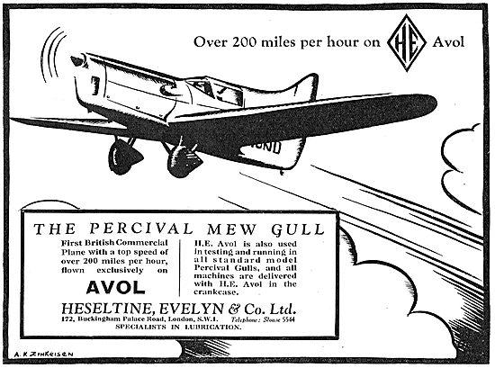 Heseltine Evelyn AVOL DTD 109 Aero Lubricant For The Mew Gull