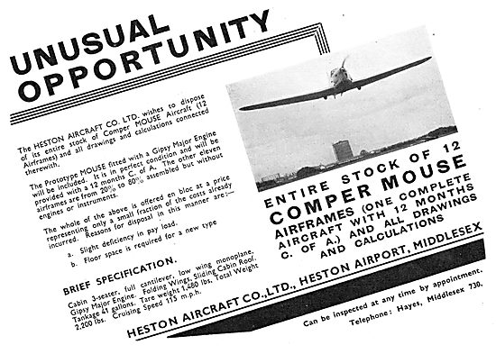 Heston Aircraft Company Offers 6 Comper Mouse Aircraft For Sale