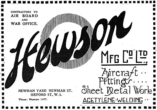 Hewson Manufacturing Co. Aircraft Sheet Metal Workers