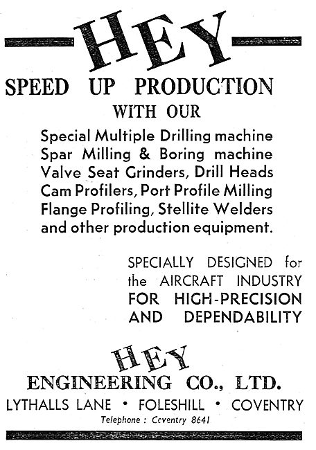 Hey Engineering Co Ltd. Lythalls Lane. Foleshill - Machine Tools.