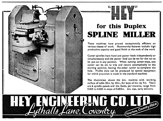 Hey Engineering Duplex Spline Miller