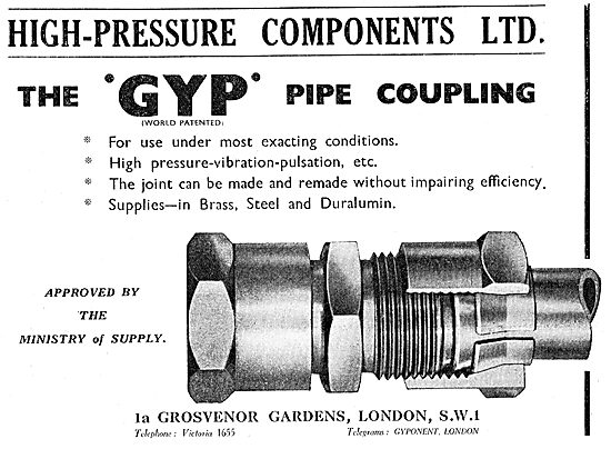 High Pressure Components - GYP Pipe Couplings 1949
