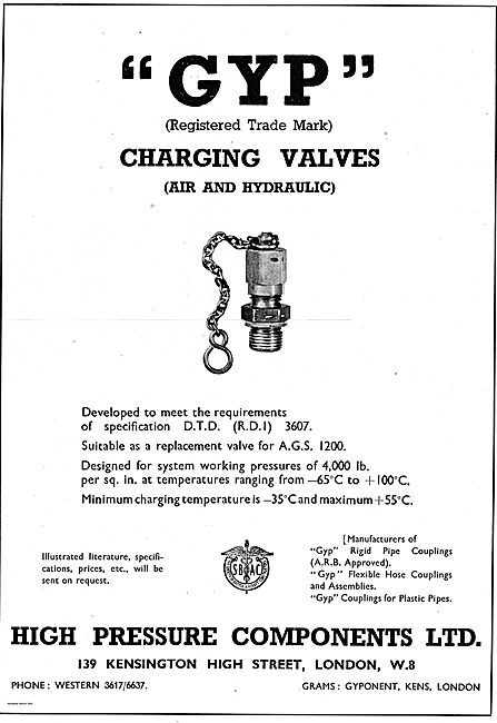 GYP Air & Hydraulic Charging Valves DTD (RDI) 3607 - AGS 1200