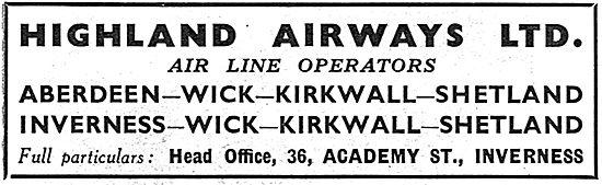 Highland Airways. Inverness. Aberdeen Wick Kirkwalll Shetland