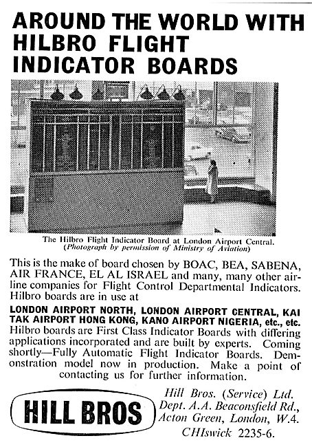 Hill Bros Flight Indicator Boards For Airport Terminals
