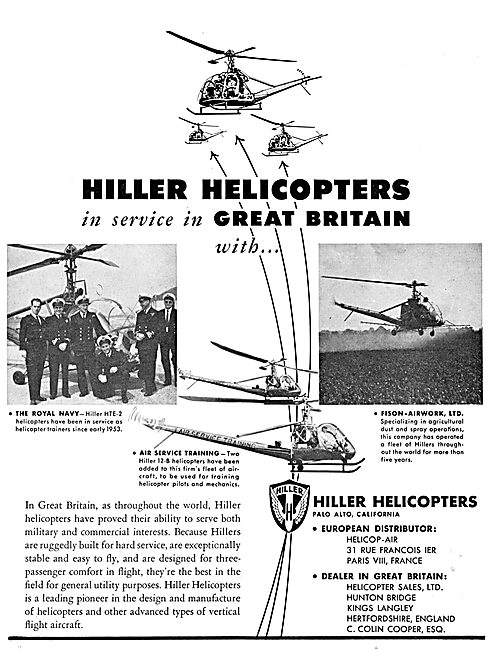 Hiller Helicopters UK Operators 1955